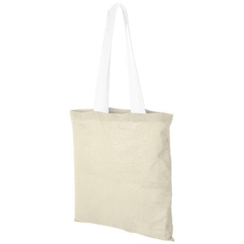 Mulepose med tryk, farvet hank, model Nevada hvid
