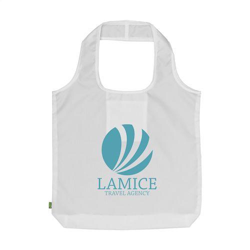 Shopper taske med tryk, RPET materiale, foldbar, model Sarah hvid