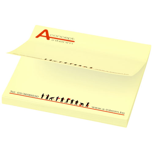 Sticky notes med logo, kvadratisk, model Sticky-Mate gul