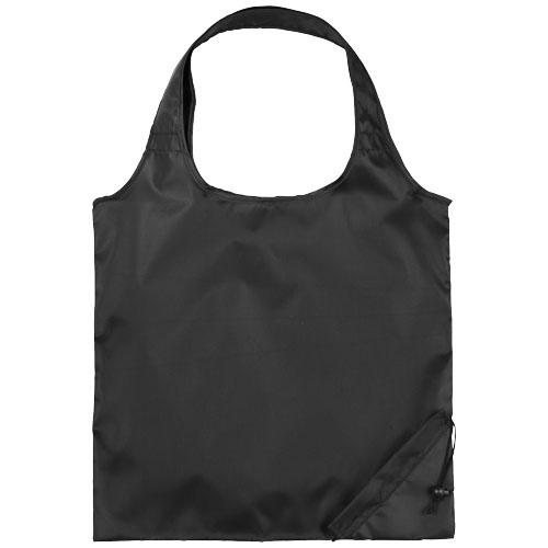 Shopper taske med tryk, foldbar, model Bungalow sort