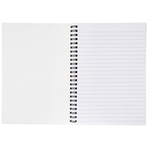 Notesbog med tryk, A5, syntetisk omslag, spiralryg, model Desk-Mate