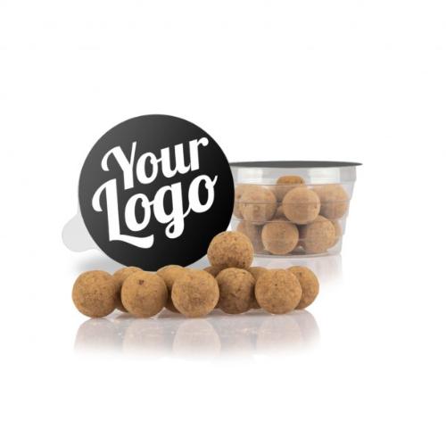Choko-lakridskugler i bæger med logo