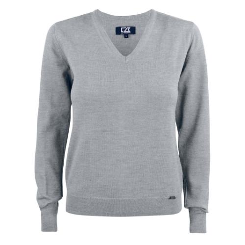 Merino uld striktrøje med logo, dame, model Everett, Cutter&Buck grå