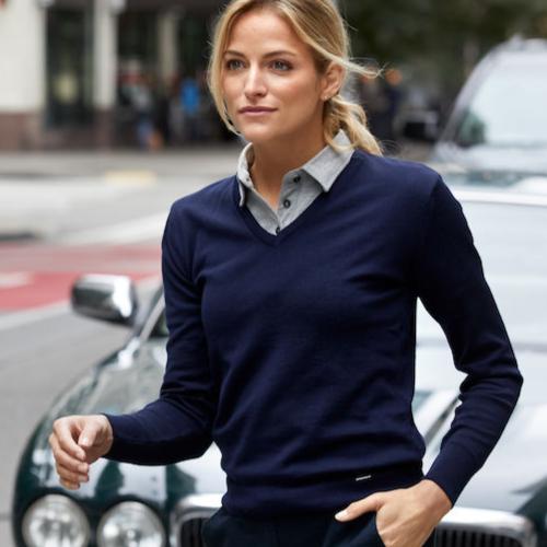 Merino uld striktrøje med logo, dame, model Everett, Cutter&Buck
