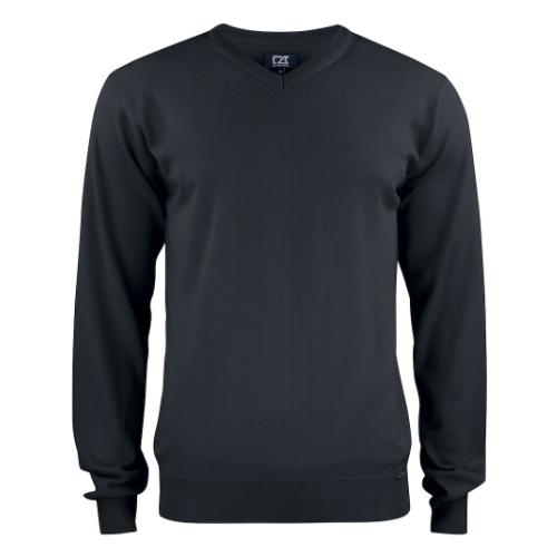 Merino uld striktrøje med logo, herre, model Everett, Cutter&Buck sort