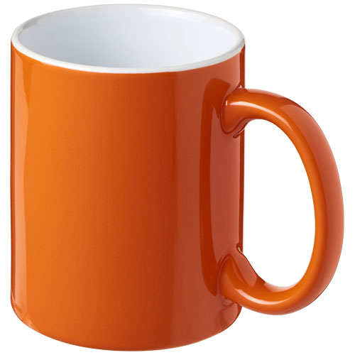 Farvet keramikkrus med logo, 330 ml, model Java orange