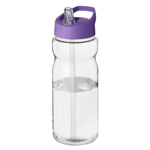 Sportsflaske med hældetud og logo, 650 ml, model H2O Base lilla