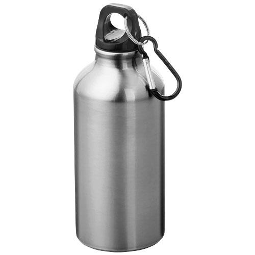 Alu vandflaske med logo, 400 ml, model Oregon sølv