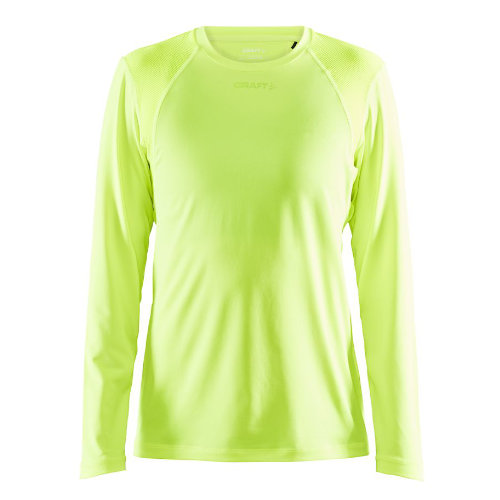 Langærmet t-shirt med logo, genbrugsmateriale, herre, model ADV Essence LS, Craft neon gul