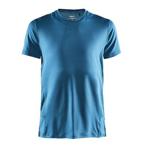 Løbe t-shirt med logo, genbrugsmateriale, herre, model ADV Essence SS, Craft petrol blå