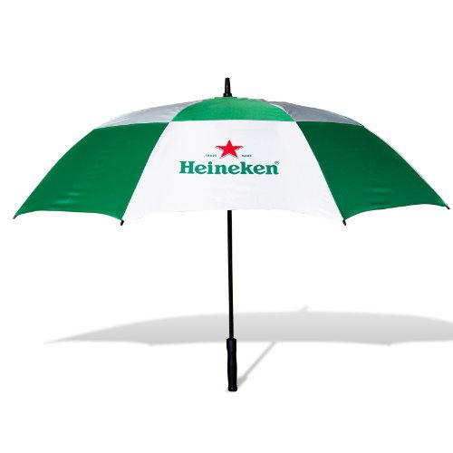 Golfparaply med logo model Cirrus grøn hvid