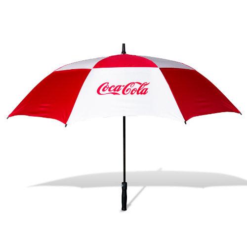 Golfparaply med logo model Cirrus rød hvid