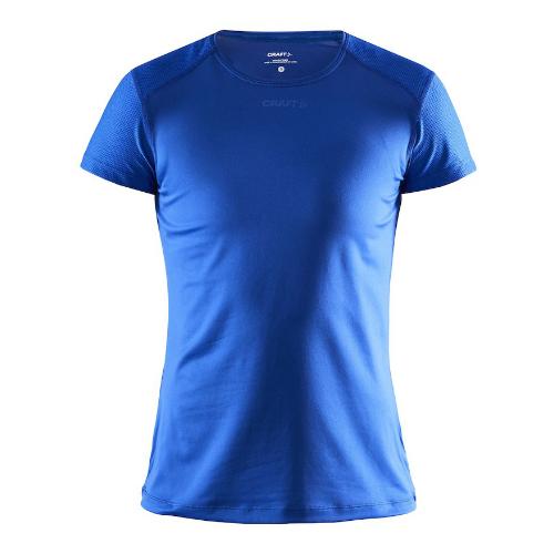 Løbe t-shirt med logo, genbrugsmateriale, dame, model ADV Essence SS, Craft kongeblå