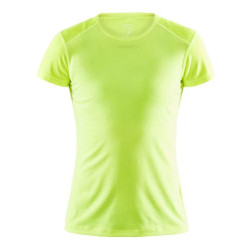 Løbe t-shirt med logo, genbrugsmateriale, dame, model ADV Essence SS, Craft neon gul