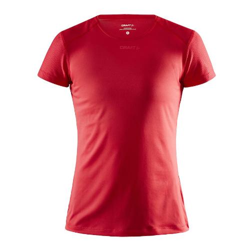 Løbe t-shirt med logo, genbrugsmateriale, dame, model ADV Essence SS, Craft rød