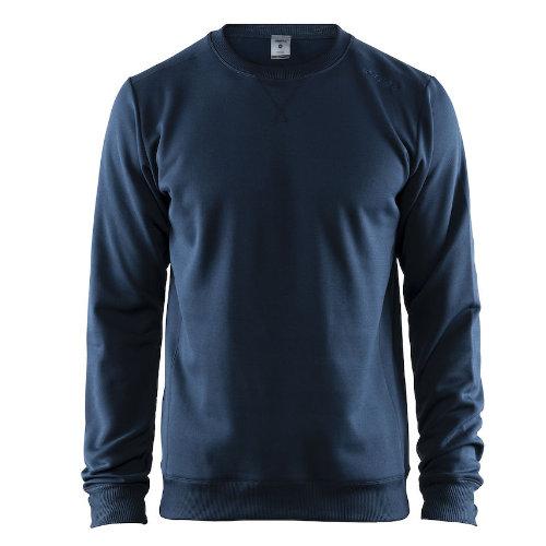 Sweatshirt med logo, herre, model Leisure Crewneck, Craft navy