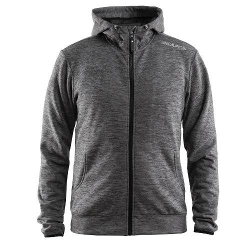 Hættetrøje med logo, herre, model Leisure Zip Hood, Craft mørk grå