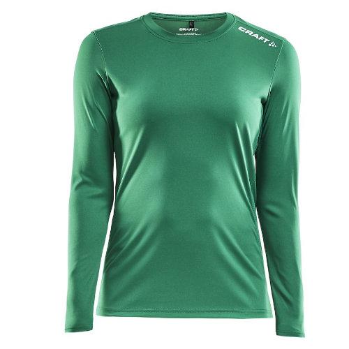 Langærmet t-shirt med logo, dame, model Rush LS, Craft grøn