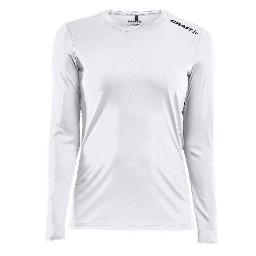 Langærmet t-shirt med logo, dame, model Rush LS, Craft hvid