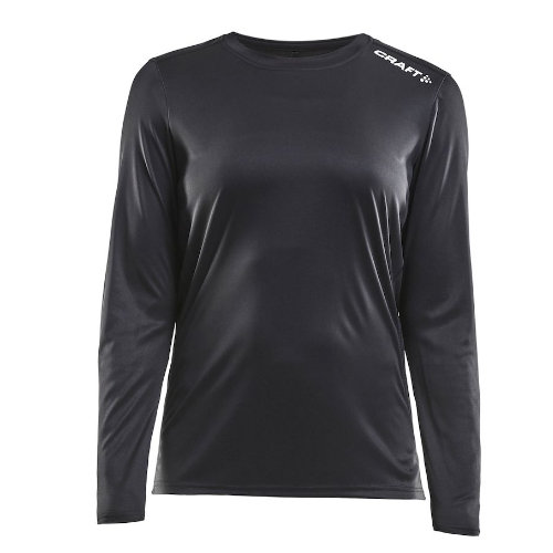 Langærmet t-shirt med logo, dame, model Rush LS, Craft sort