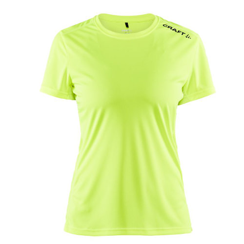 Sports t-shirt med logo, dame, model Rush SS, Craft neon gul