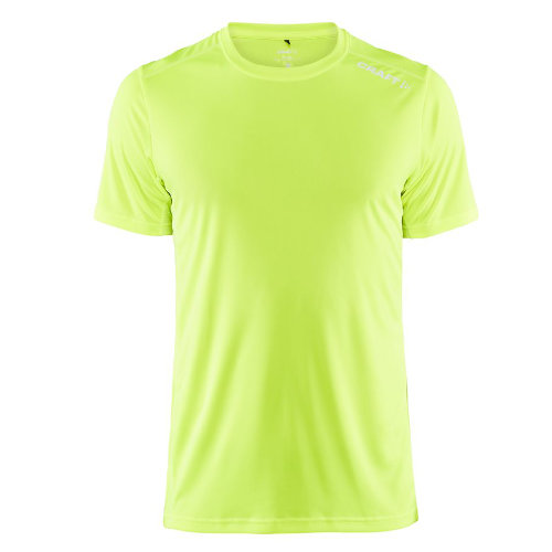 Sports t-shirt med logo, herre, model Rush SS, Craft neon gul