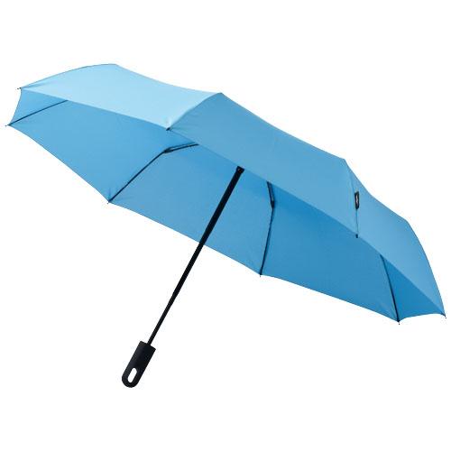 Taskeparaply med logo model traveler lyseblå