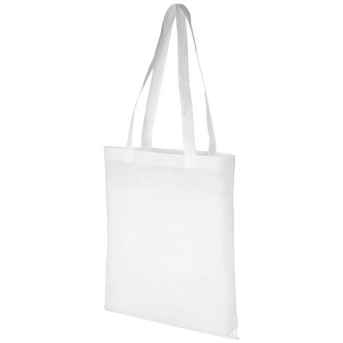 Mulepose med tryk, non-wowen, model Zeus, hvid