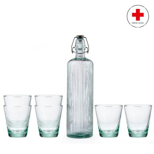 BITZ Kusintha vandkaraffel og glas, støt Røde Kors