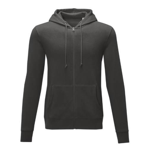 Hættetrøje med logo, zip, model Theron grå