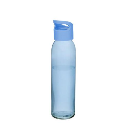 Vandflaske-i-glas-med-logo-sky-lyseblå