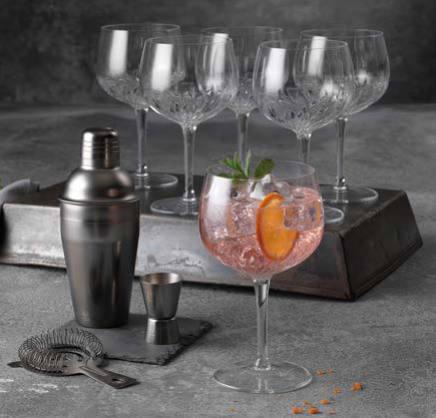 Gin & tonic glas og shaker