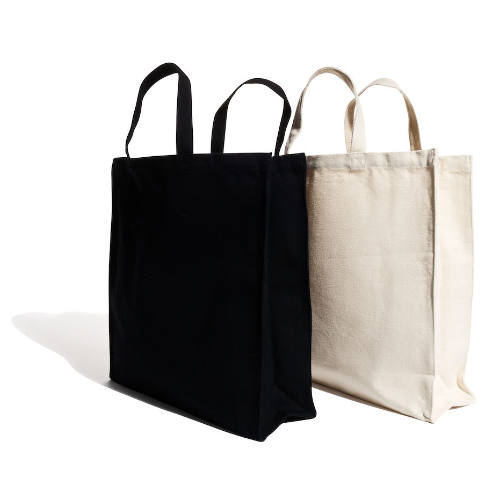 Mulepose med tryk ekstra kraftig kanvas sort eller natur