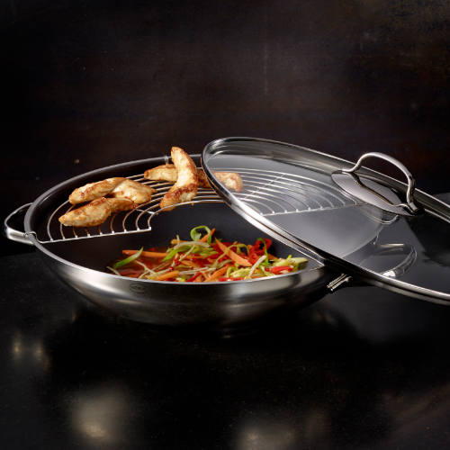 Rösle wok med glaslåg
