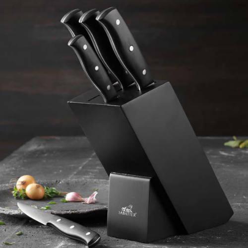 Sabatier knivblok med 5 Sabatier knive