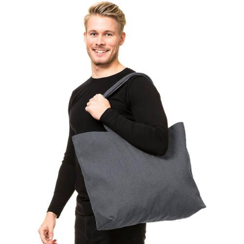 Ekstra stor shopper taske med tryk grå eksempel