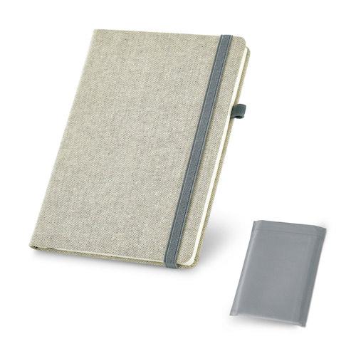 Notesbog med tryk, A5, lærred omslag, model Carrey