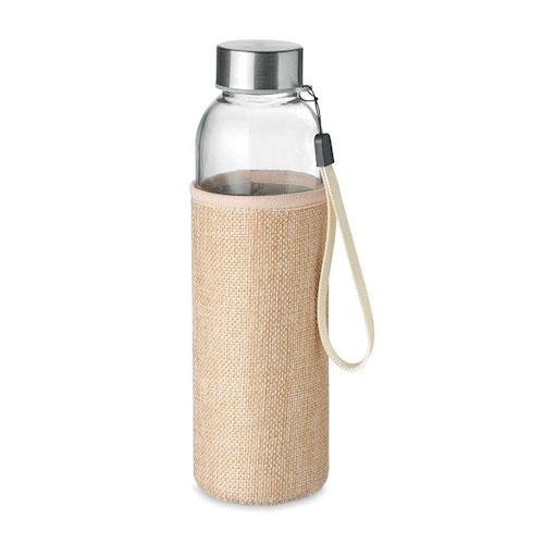 Vandflaske-i-glas-med-logo-Jute