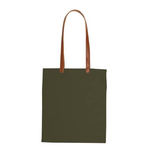 Mulepose med tryk og PU læder stropper model daypok army
