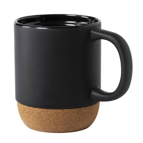 Krus i keramik og kork med logo, sort