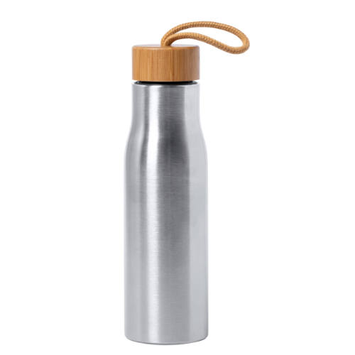 Vandflaske i stål og bambus med logo